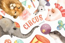 Circus Animals Watercolor Clip Art