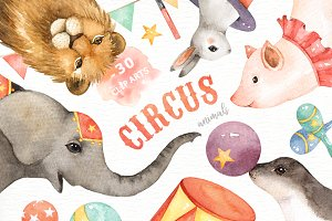 Circus Animals Watercolor Clip Art