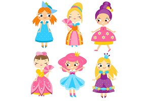 Cute cartoon princesses