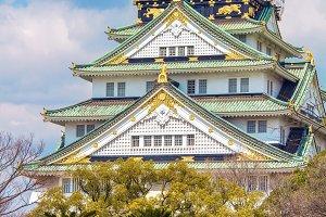 Medieval Osaka castle in Japan