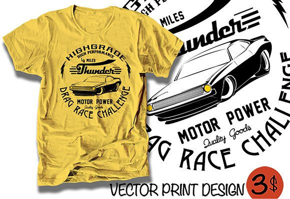 vector muscle car print