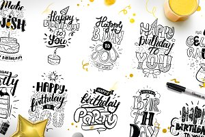 Happy Birthday hand lettering set