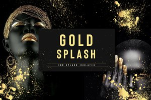 Set of gold splash on black background vector illustration