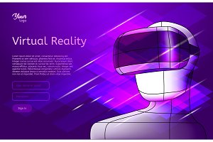 Virtual reality poster. Man in vr headset. Vector illustration.