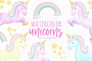 Unicorn Watercolor Illustrations