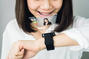 Woman show digital clock displaying