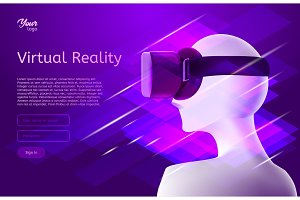 Man in virtual reality headset. Vector design concept.