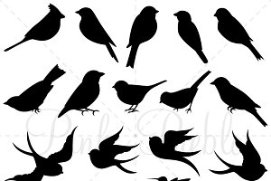 Bird Silhouettes Clipart & Vectors