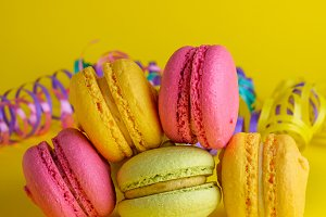 macarons on a yellow background