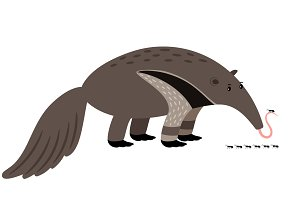 Ant-eater cartoon animal icon