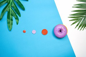 Purple donut and colorful.