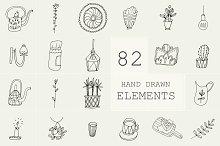 82 Hand Drawn Logo Elements PSD by Sasha Mitkalova in Objects