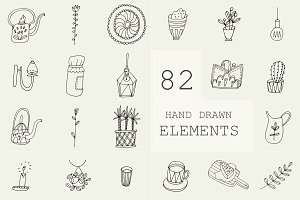 82 Hand Drawn Logo Elements PSD