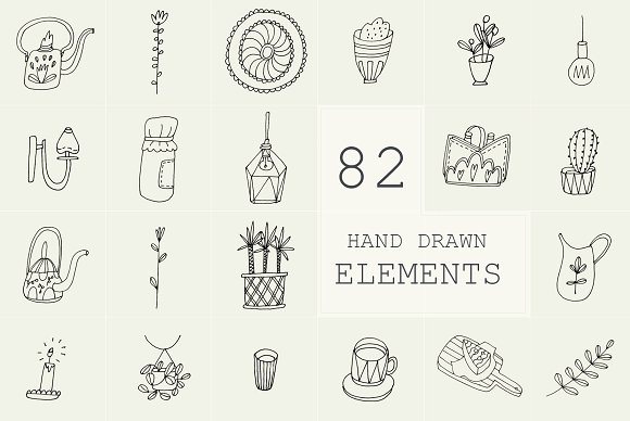 82 Hand Drawn Logo Elements PSD