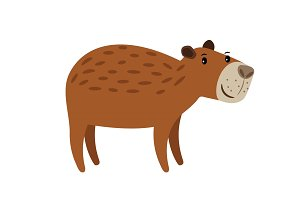 Cute brown capybara icon