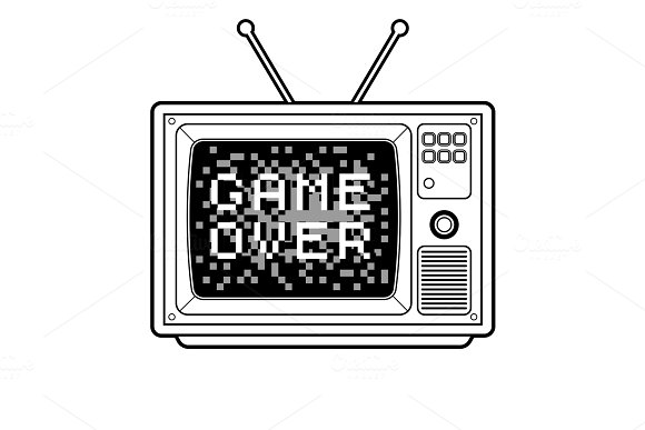 Game Over On Tv Coloring Book Vector Illustration