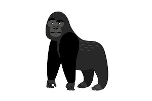 Black cartoon gorilla icon