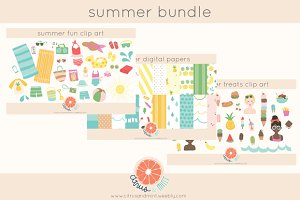 summer clip art and paper bundle