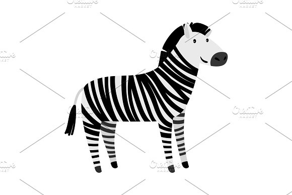 Cute Zebra Cartoon Animal Icon