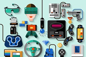 Gaming gadgets icons set