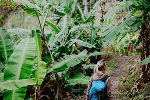 Blond young women with blue backpack walking through banana plantation on the trekking route to Paul valley. Santo antao island. Cape verde