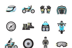 Motor bike rider flat icons set