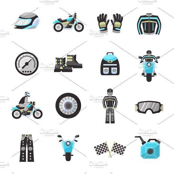 Motor Bike Rider Flat Icons Set