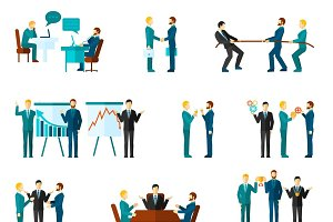 Business collaboration icons set