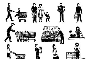 Hand drawn people in supermarket