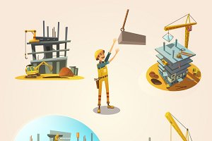 Construction retro cartoon icons
