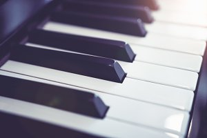 Close up white Piano key.
