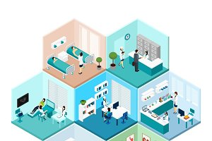 Hospital hexagonal isometric set