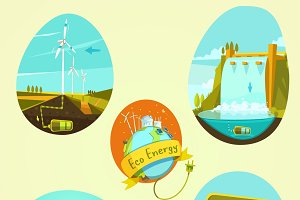 Ecological energy retro cartoon set