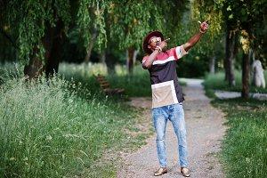 Fashionable and stylish black man wi
