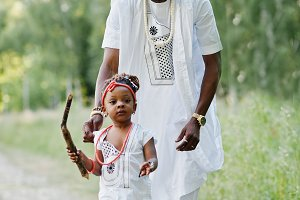 Black african father and daughter ha