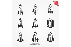 Vector black rocket icon set.