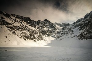 Frozen lake in Polish mountains