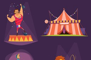 Circus retro cartoon icon set
