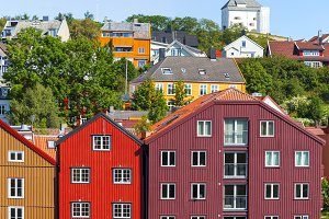 Colorful houses, Trondheim,Norway