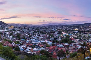 Tbilisi sunset panorama view,Georgia