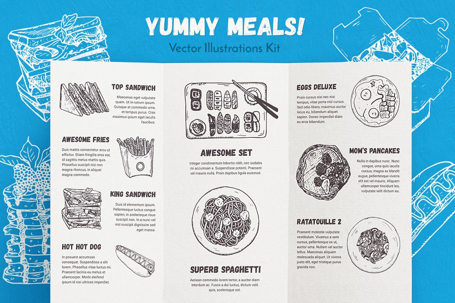 Yummy Meals Vector Set in Illustrations - product preview 8