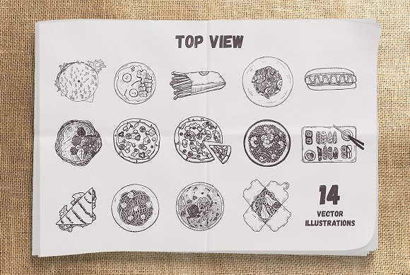 Yummy Meals Vector Set in Illustrations - product preview 1