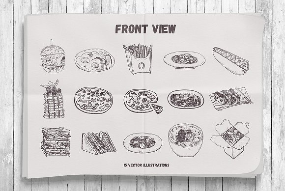 Yummy Meals Vector Set in Illustrations - product preview 2
