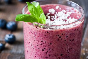 Blueberry smoothie in glass