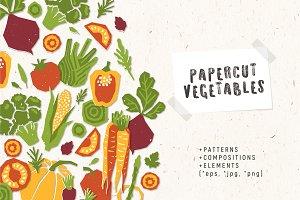 Papercut vegetables