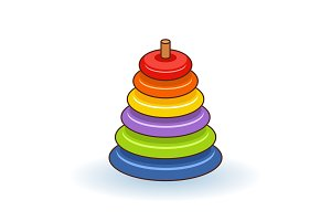 Pyramid icon. Childrens colorful plastic toy. Rainbow color stacking ring set. Triangle shape. Education card for kids. Isolated. White background. Flat design. Vector illustration