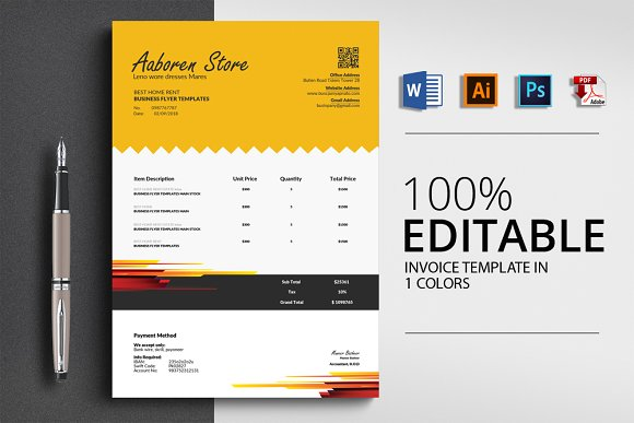 Word Invoice Template With 4 Format
