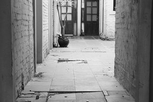 Ancient Courtyard in Black and White