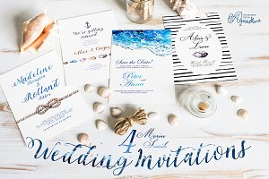 4 Seaside Wedding Invitations