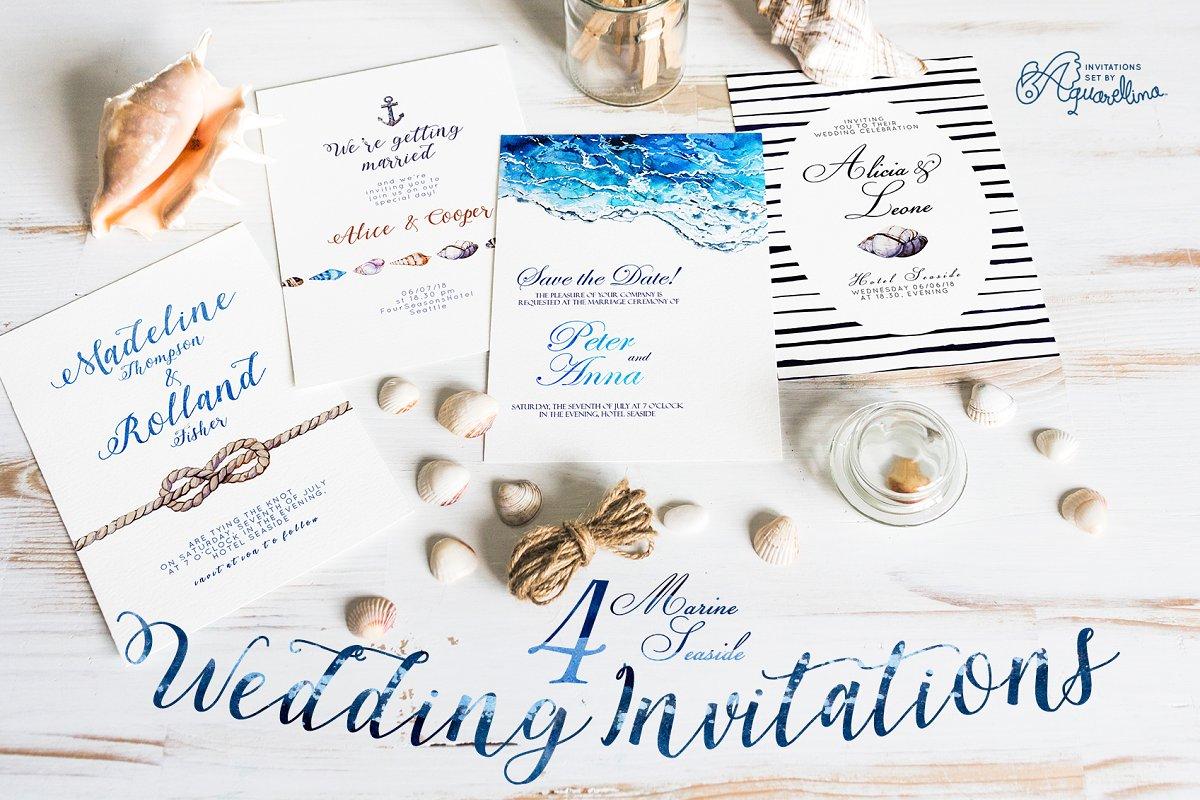 4 Seaside Wedding Invitations Creative Wedding Templates